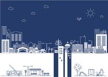 De illustratie van het beeldverhaal Vectorstad in lijnstijl op blauwe backgrou Stock Fotografie