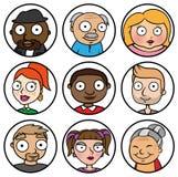 De illustratie van het beeldverhaalontwerp van de pictogrammen van het mensengezicht Stock Illustratie