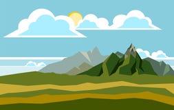 De illustratie van het berglandschap Stock Foto's