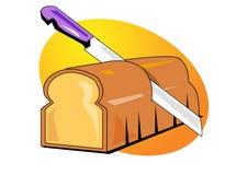 De illustratie van het brood en van het mes royalty-vrije illustratie