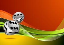 De illustratie van het casino met twee dobbelt Stock Foto's