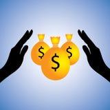 De illustratie van het concept van besparingsgeld (dollar) Stock Afbeelding