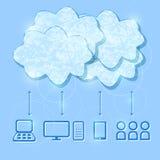 De Illustratie van het Concept van de Gegevensverwerking van de wolk Stock Fotografie