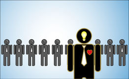 De Illustratie van het concept van Leiding: een rij van kandidaten of werkgevers of mensen met vraagtekens in hun hoofd die zich a Stock Fotografie