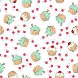 De illustratie van het Cupcakespatroon Naadloze druk met gebakjereeks Vectorbakkerijachtergrond De hand trekt stijl Stock Afbeelding