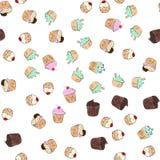 De illustratie van het Cupcakespatroon Naadloze druk met gebakjereeks Vectorbakkerijachtergrond De hand trekt stijl Stock Afbeeldingen
