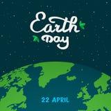 De illustratie van het de Dagbeeldverhaal van de moederaarde Aardeplaneet in Ruimte met kalligrafie, met de hand geschreven tekst Stock Illustratie