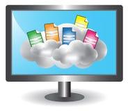 De illustratie van het de gegevensverwerkingsconcept van de wolk Stock Afbeeldingen