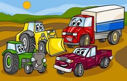 De illustratie van het de groepsbeeldverhaal van voertuigenmachines vector illustratie