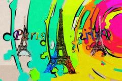 De illustratie van het de kunstontwerp van Parijs Stock Foto's