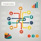 De illustratie van het de pictogrammennetwerk van het Infographicdiagram royalty-vrije illustratie