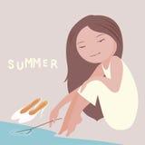 Het meisjesillustratie van de zomer Stock Afbeelding