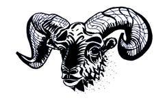 De illustratie van het dierenriemteken - Ram Schets voor tatoegering vector illustratie