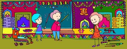 De illustratie van het Diwalifestival voor kinderenboek Stock Afbeeldingen