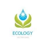 De Illustratie van het ecologieconcept - Abstract Vectorlogo sign template Bladeren en dalingsillustratie Het element van het ont Royalty-vrije Stock Afbeelding