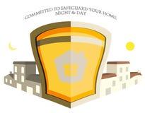 De Illustratie van het Embleem van het Schild van de Veiligheid van het Bezit van het huis Royalty-vrije Stock Afbeeldingen
