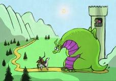 De illustratie van het fairytaleverhaal met de groene draak en de prinses vector illustratie