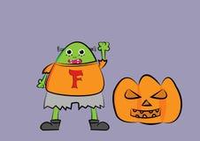 De illustratie van het Frankensteinbeeldverhaal met pompoen Royalty-vrije Stock Afbeeldingen