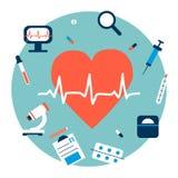 De illustratie van het geneeskundehart met elementen in vlakke ontwerpstijl Stock Afbeeldingen