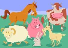 De illustratie van het de groepsbeeldverhaal van landbouwbedrijfdieren Royalty-vrije Stock Afbeelding