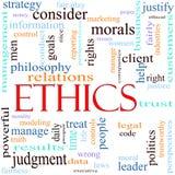 De illustratie van het het woordconcept van de ethiek Stock Fotografie