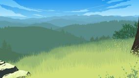De illustratie van het heuvelslandschap Stock Foto's