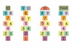 De illustratie van het hinkelspelsspel in kleurrijk brieven Stock Foto