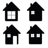 De illustratie van het huispictogram in zwarte kleur Stock Fotografie