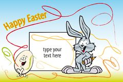 De illustratie van het jonge geitje voor Pasen met schilderskonijn Royalty-vrije Stock Afbeeldingen