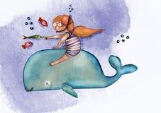 De illustratie van het kinderen` s boek Waterverf leuk meisje met rood haar in gestreept zwemmend kostuum op de walvis, comfortab vector illustratie