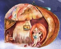 De illustratie van het kinderen` s boek Waterverf leuk meisje met rood haar in warme houding onder de paddestoel, comfortabele at vector illustratie