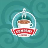 De illustratie van het koffieembleem op achtergrond Royalty-vrije Stock Fotografie