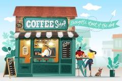 De Illustratie van het koffiehuis royalty-vrije illustratie