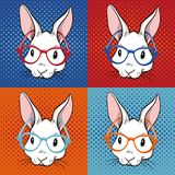 De illustratie van het konijnpop-art stock illustratie