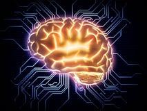 De illustratie van het kunstmatige intelligentieconcept Stock Afbeeldingen