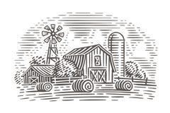 De illustratie van het landbouwbedrijflandschap Rustieke scène Vector stock foto's