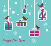 De illustratie van het nieuwjaar met vogels en giften Stock Afbeeldingen