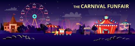 De illustratie van het pretparkbeeldverhaal van Carnaval funfair bij nacht met verlichting van ritten, carrousels en circustent vector illustratie