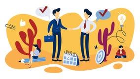 De illustratie van het vennootschapconcept Idee van groepswerk en begeleiding vector illustratie
