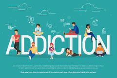 De illustratie van het verslavingsconcept van jongeren die apparaten zoals laptop, smartphone, tabletten met behulp van royalty-vrije illustratie