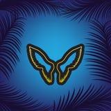 De illustratie van het vleugelsteken Vector Gouden pictogram met zwarte contour stock illustratie