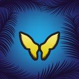 De illustratie van het vleugelsteken Vector Gouden pictogram met zwarte contour vector illustratie