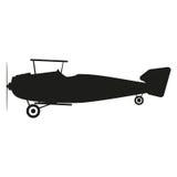 De illustratie van het vliegtuigenteken Vector Zwart pictogram op witte achtergrond Royalty-vrije Stock Foto's