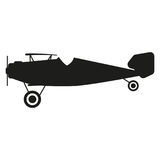 De illustratie van het vliegtuigenteken Vector Zwart pictogram op witte achtergrond Stock Fotografie