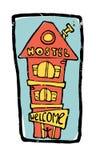 de illustratie van het 3 vloerenhuis, herberg Royalty-vrije Stock Fotografie