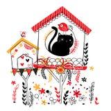 De illustratie van het vogelhuis Stock Afbeeldingen