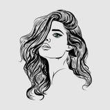 De illustratie van het vrouwengezicht sketxh royalty-vrije illustratie
