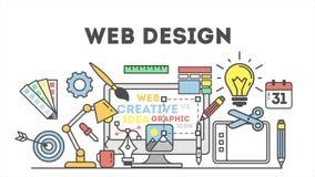 De illustratie van het Webontwerp met pictogrammen royalty-vrije illustratie