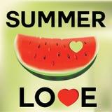 De illustratie van het de zomerconcept Plak van Watermeloen Royalty-vrije Stock Afbeeldingen