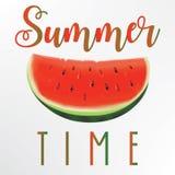 De illustratie van het de zomerconcept Plak van Watermeloen Stock Afbeelding